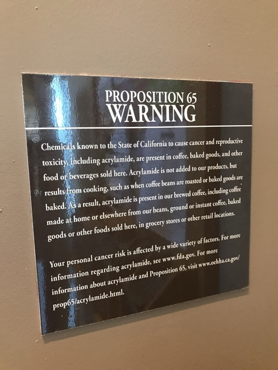 coffee warning California