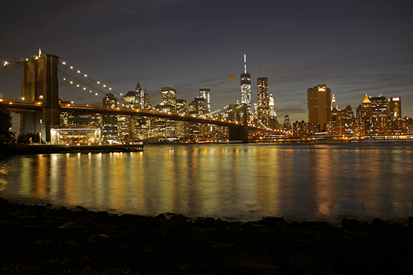 Brooklyn Bridge at night New York skyline