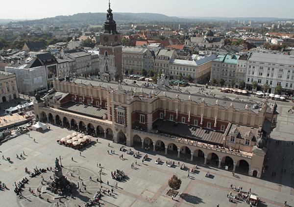 Rynek Glowny, vue de la cathédrale