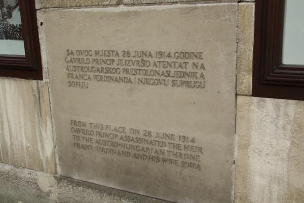 Sarajevo 1914 shooting plaque