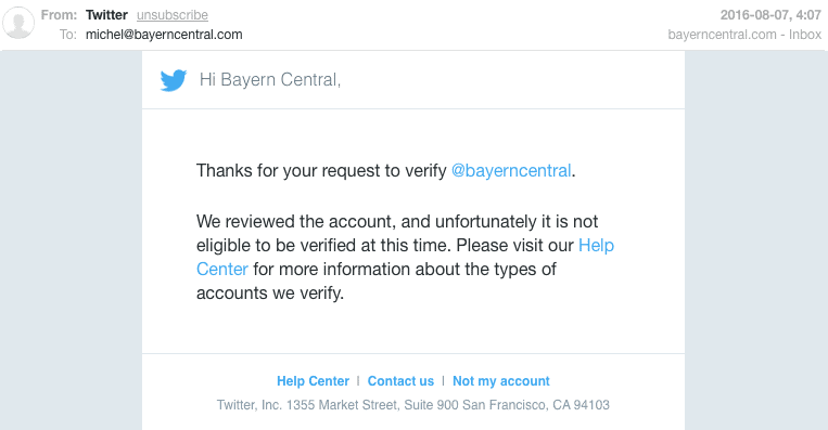 twitter verification email